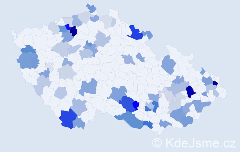 Příjmení: 'Križanová', počet výskytů 186 v celé ČR
