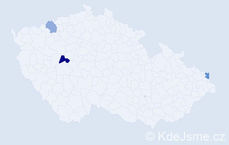 Příjmení: 'Kuniak', počet výskytů 5 v celé ČR
