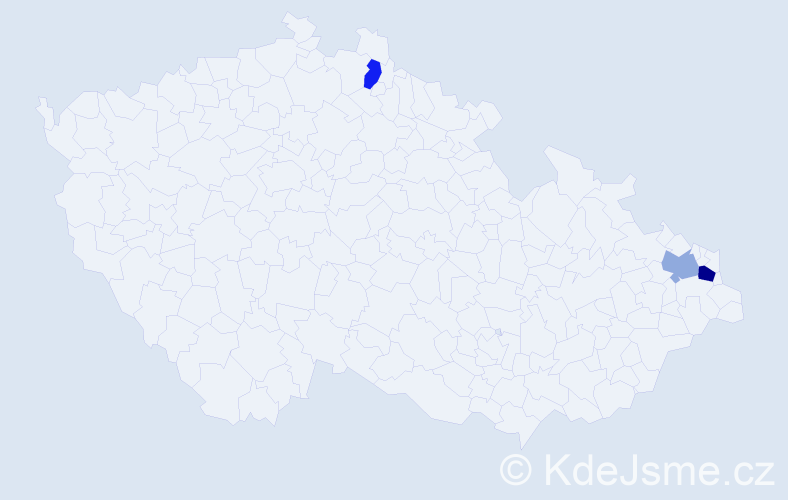 Příjmení: 'Gajdačová', počet výskytů 4 v celé ČR