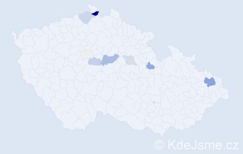 Příjmení: 'Babiák', počet výskytů 20 v celé ČR