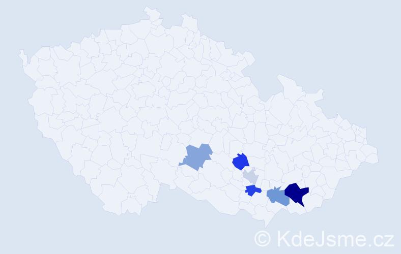 Příjmení: 'Hajdajová', počet výskytů 9 v celé ČR