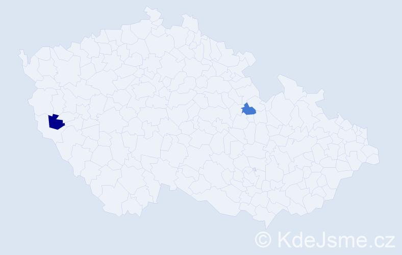 Příjmení: 'Ladyga', počet výskytů 2 v celé ČR