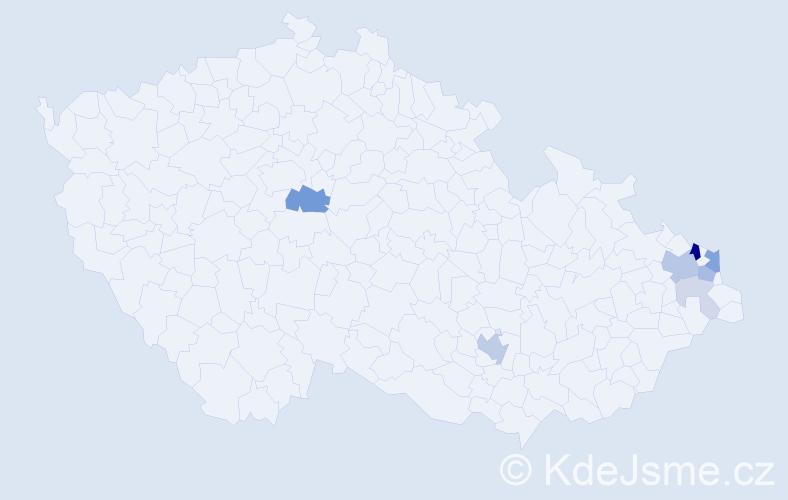Příjmení: 'Klasa', počet výskytů 22 v celé ČR
