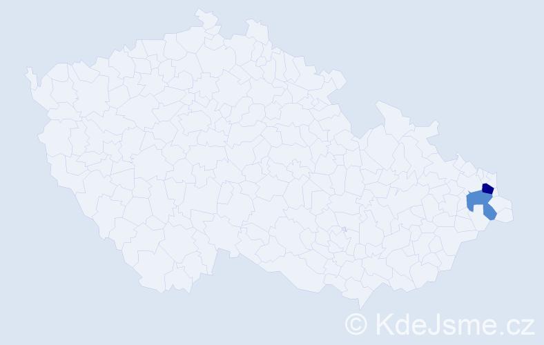 Příjmení: 'Lačiková', počet výskytů 3 v celé ČR