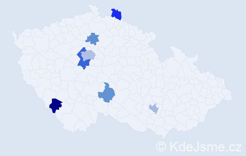 Příjmení: 'Gerlachová', počet výskytů 14 v celé ČR