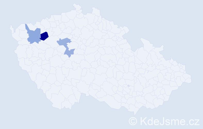 Příjmení: 'Dřeveňáková', počet výskytů 4 v celé ČR