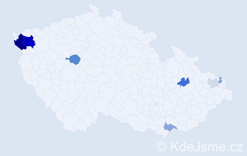 Příjmení: 'Ciba', počet výskytů 15 v celé ČR