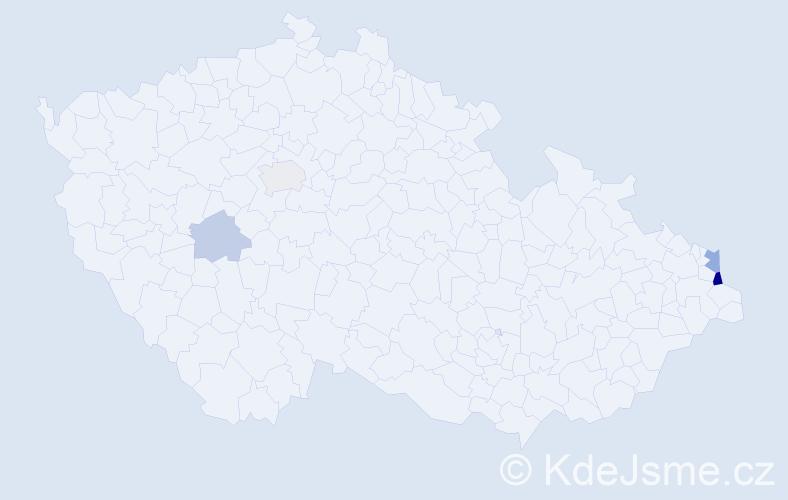 Příjmení: 'Kramarčík', počet výskytů 8 v celé ČR