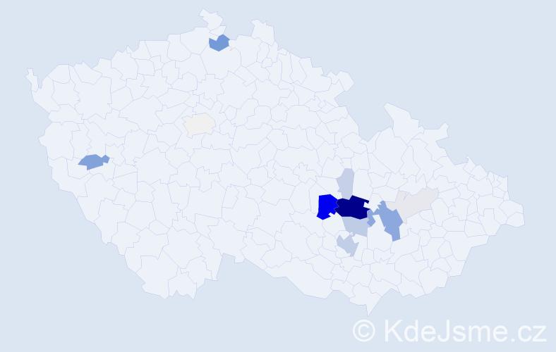 Příjmení: 'Kintr', počet výskytů 48 v celé ČR