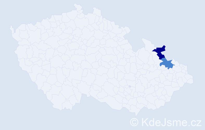 Příjmení: 'Iglárová', počet výskytů 4 v celé ČR