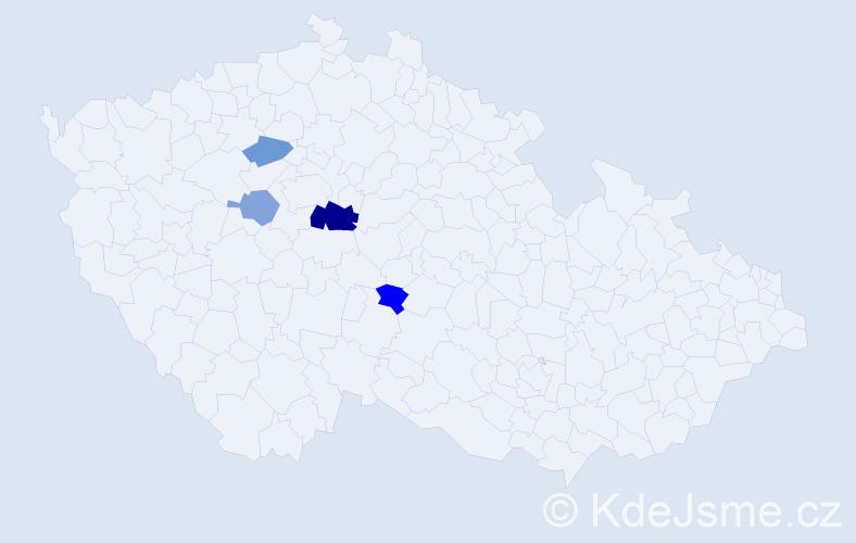 Příjmení: 'Digrínová', počet výskytů 7 v celé ČR