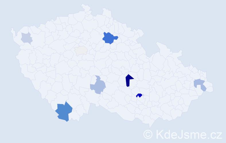 Příjmení: 'Kubický', počet výskytů 18 v celé ČR