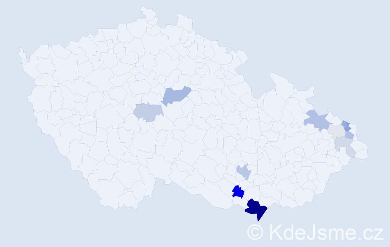 Příjmení: 'Bartošic', počet výskytů 30 v celé ČR