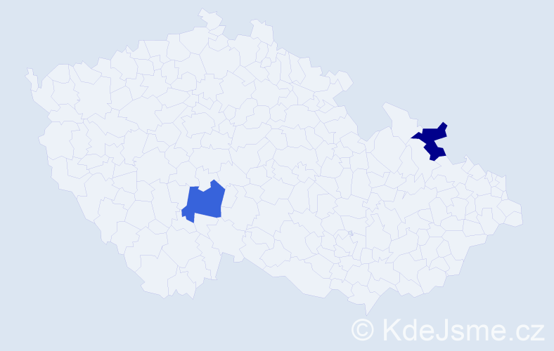 Příjmení: 'Eddy', počet výskytů 2 v celé ČR