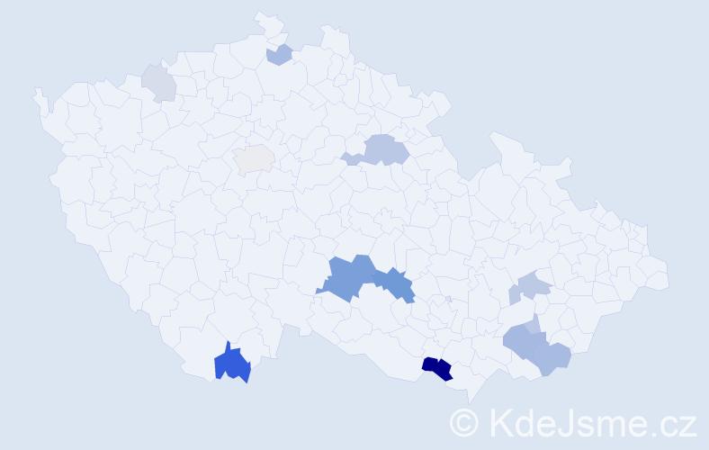 Příjmení: 'Jurkas', počet výskytů 32 v celé ČR