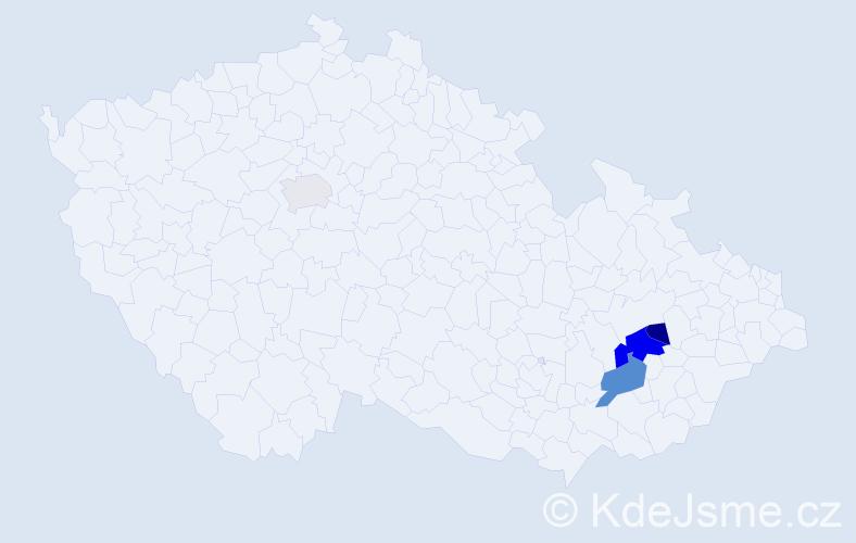 Příjmení: 'Heviánek', počet výskytů 8 v celé ČR