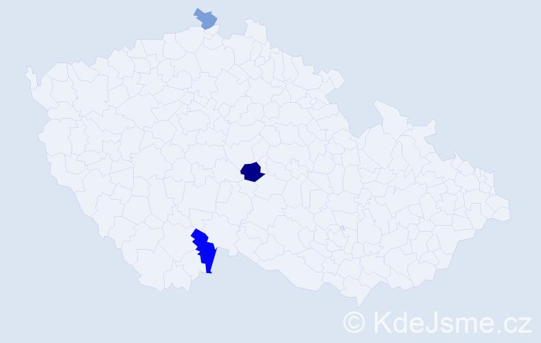 Příjmení: 'Gampeová', počet výskytů 5 v celé ČR