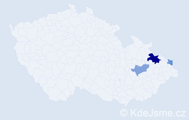Příjmení: 'Blaga', počet výskytů 11 v celé ČR