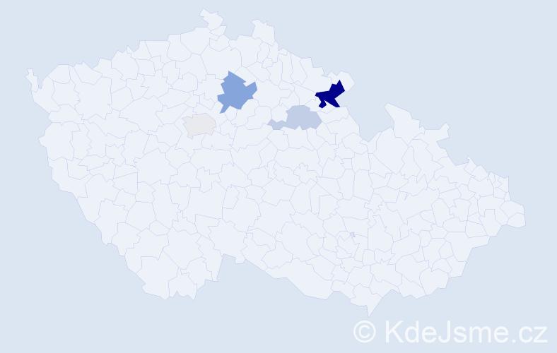 Příjmení: 'Eimer', počet výskytů 10 v celé ČR