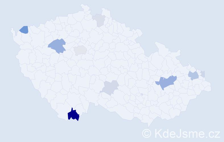 Příjmení: 'Čižíková', počet výskytů 23 v celé ČR