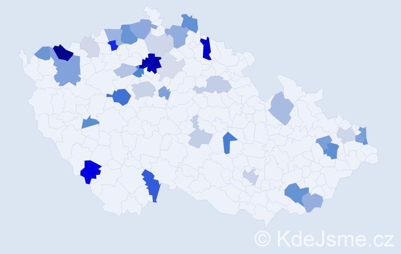 Příjmení: 'Máček', počet výskytů 114 v celé ČR