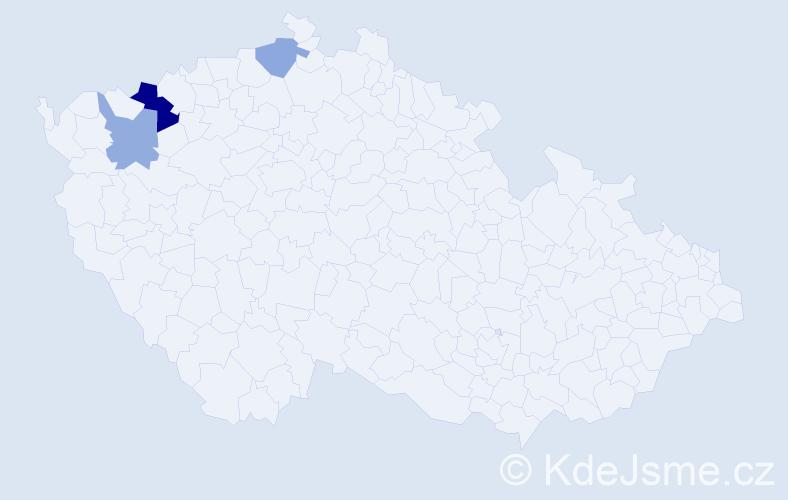 Příjmení: 'Jandášová', počet výskytů 5 v celé ČR