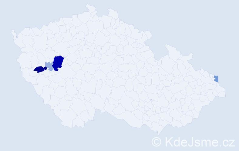Příjmení: 'Kiráľ', počet výskytů 5 v celé ČR