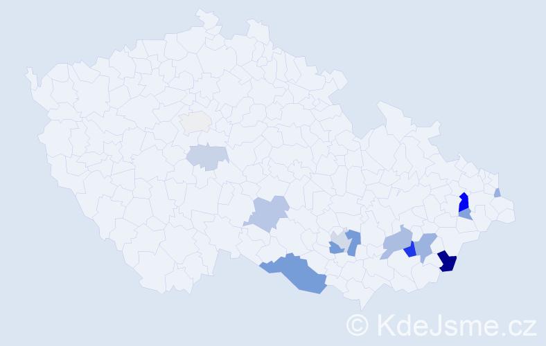 Příjmení: 'Debefová', počet výskytů 40 v celé ČR