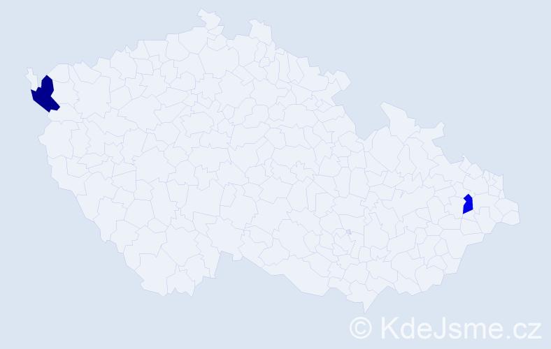 Příjmení: 'Bonnová', počet výskytů 5 v celé ČR