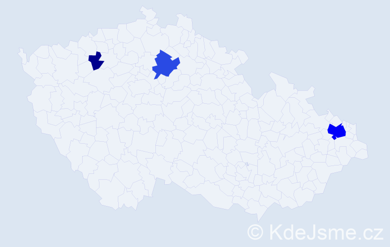 Příjmení: 'Kaczmarek', počet výskytů 9 v celé ČR