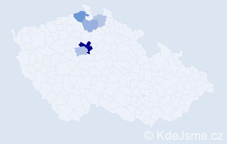 Příjmení: 'Hauzírková', počet výskytů 17 v celé ČR