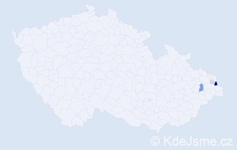 Příjmení: 'Juzofová', počet výskytů 8 v celé ČR
