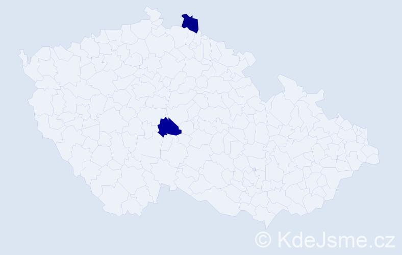 Příjmení: 'Jančáryová', počet výskytů 2 v celé ČR