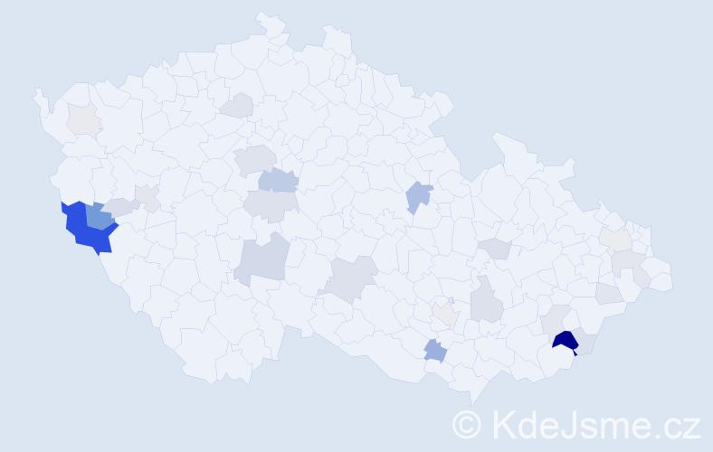 Příjmení: 'Bor', počet výskytů 106 v celé ČR