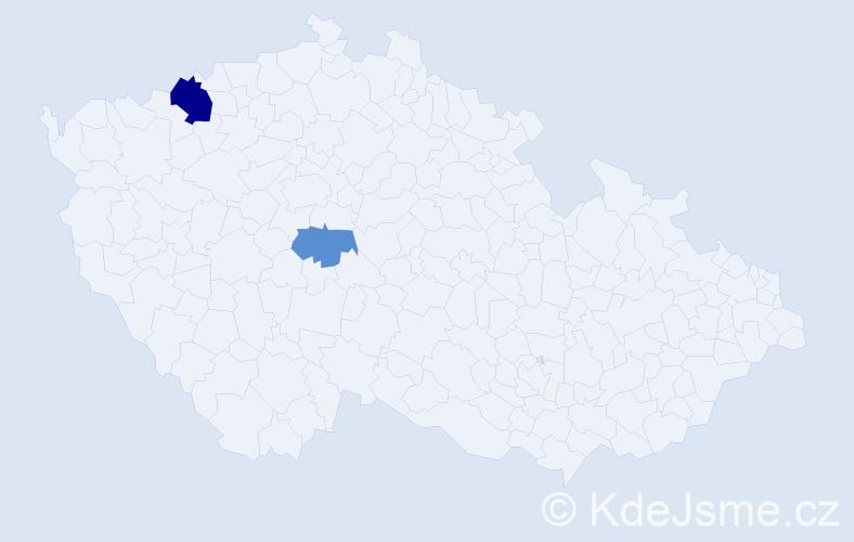 Příjmení: 'Demi', počet výskytů 4 v celé ČR