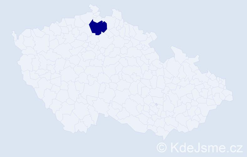 """Příjmení: '""""Augusti Slavíčková""""', počet výskytů 1 v celé ČR"""