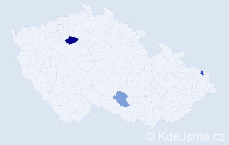 Příjmení: 'Hubicsáková', počet výskytů 4 v celé ČR