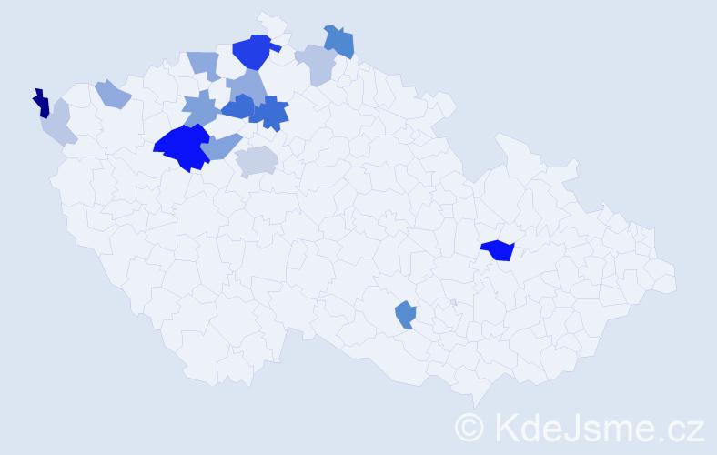 Příjmení: 'Lepová', počet výskytů 55 v celé ČR