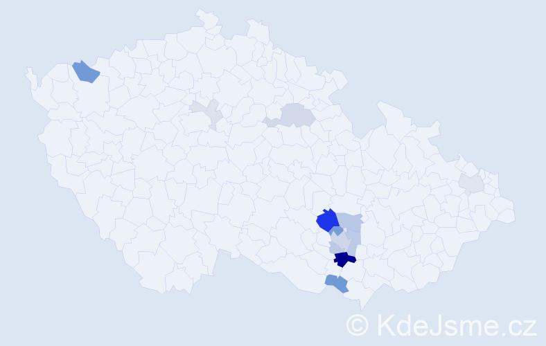 Příjmení: 'Báborová', počet výskytů 36 v celé ČR