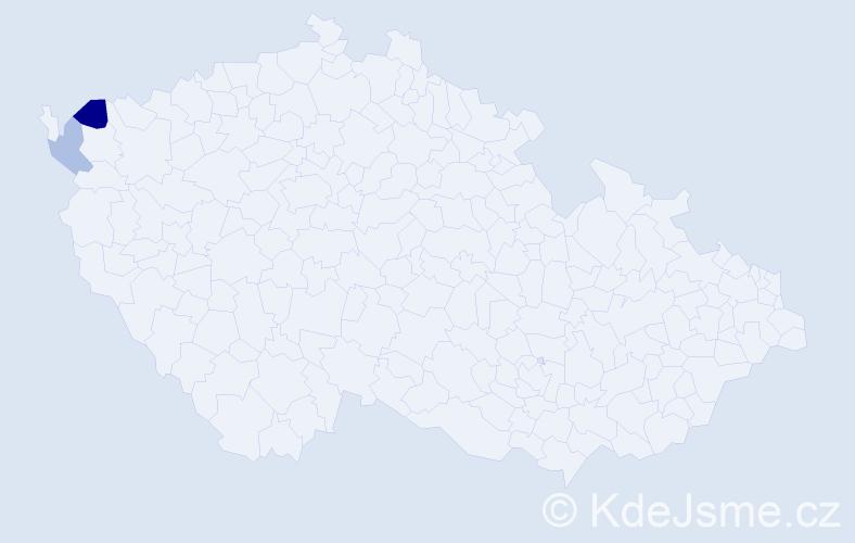 Příjmení: 'Ilcsik', počet výskytů 3 v celé ČR