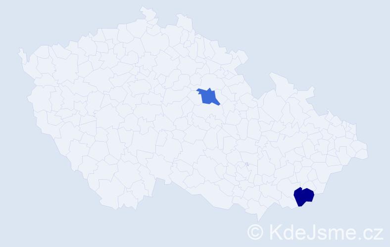 Příjmení: 'Jeffery', počet výskytů 2 v celé ČR