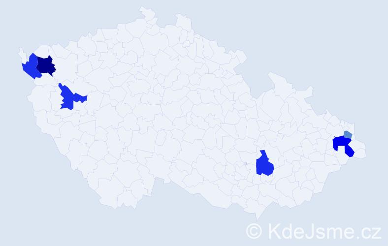 Příjmení: 'Bolgáčová', počet výskytů 8 v celé ČR