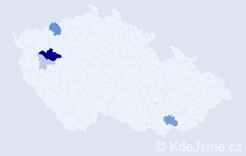 Příjmení: 'Cejthamrová', počet výskytů 13 v celé ČR