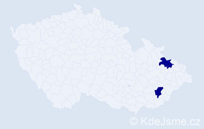 Příjmení: 'Dore', počet výskytů 2 v celé ČR