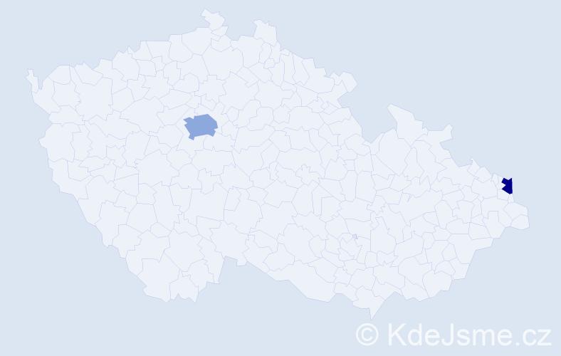 Příjmení: 'Kaliban', počet výskytů 3 v celé ČR