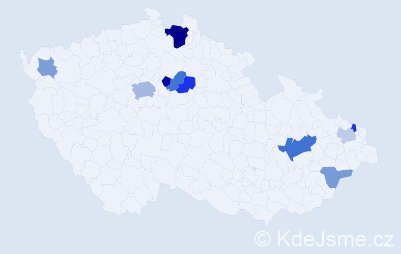 Příjmení: 'Ďuríková', počet výskytů 20 v celé ČR