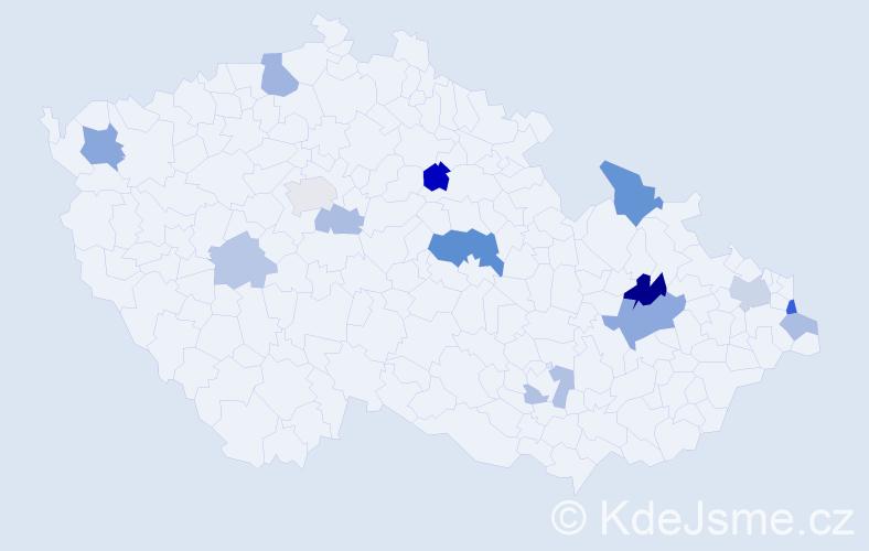 Příjmení: 'Černil', počet výskytů 28 v celé ČR