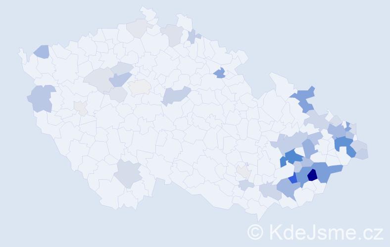 Příjmení: 'Ježík', počet výskytů 160 v celé ČR
