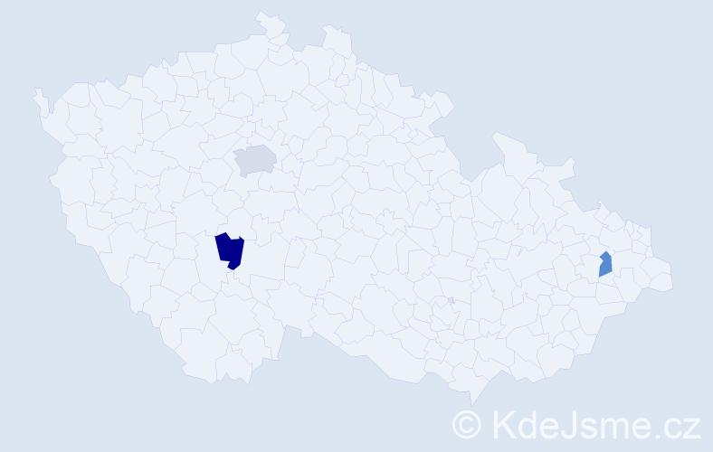 Příjmení: 'Dillon', počet výskytů 4 v celé ČR