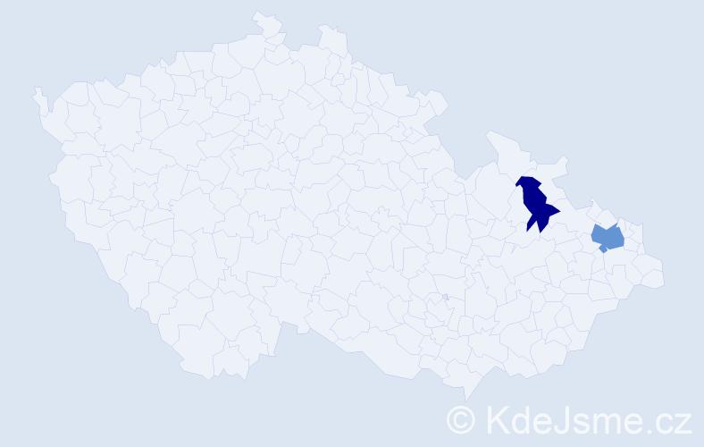 Příjmení: 'Gade', počet výskytů 6 v celé ČR